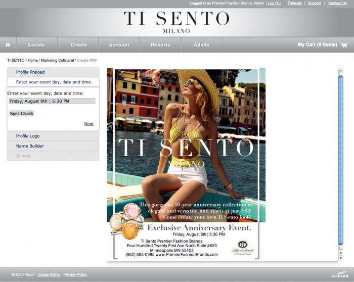Ti Sento Marketing Collateral Builder - Fision Screenshot